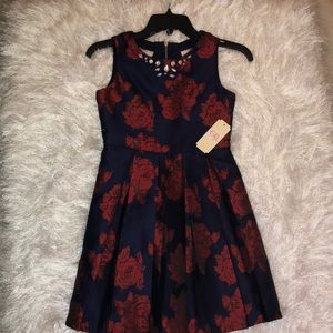 Red and navy blue dress